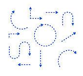 Big Set Arrows for presentation. vector thin blue lines