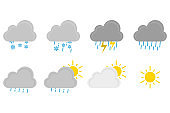 Set of weather icons. Vector illustration in flat design