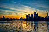 Sunset view of Chicago Skyline in Winter