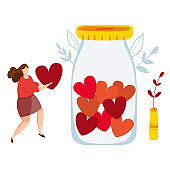 Vector illustration of Concept of charity and donation. Volunteers throw hearts symbol into a box for donations. Social care and help concept. Tiny people sharing kindness and caring. Woman with heart