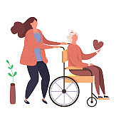 Modern vector illustration of help old disabled people. Characters volunteers with handicapped grandmother. Daughter walks with old disabled mother in the wheelchair.