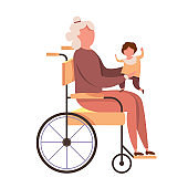 modern vector illustration of Handicapped grandmother with kid vector images. Disabled old woman holding a baby in his arms. Family love concept