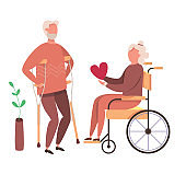 Concept of romantic relationships and marriage with handicapped old people. Loving senior couple of handicapped Grandfather and Grandmother. Human relations vector illustration