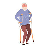 Modern vector illustration of old disabled man. An elderly man with walking cane. Isolated on white background.