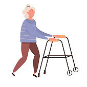 Modern vector illustration of old woman. Elderly woman with walking cane.