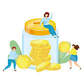 Banking deposit vector illustration. Money Savings concept. Glass jar with coins inside. Cash protection. Finance saving banner. Money investment. Bank cell vector illustration.