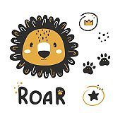 Vector cute lion clipart. Cartoon character lion, hand drawn print for kids.