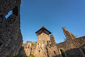 Ruins of medieval Nevytsky castle, architectural landmark with stone walls and donjon, Transcarpathia, Ukraine, Europe