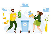 Modern vector illustration of cute people putting rubbish in trash bin. People sorting each type of garbage into the trash. Environmental protection. Ecology concept. Waste separation. Recycle thrash.