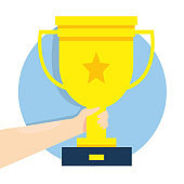 Modern vector illustration of Golden trophy cup in businessman hand. Winner's trophy award. Icon for web site, application. Symbol of win. Awards ceremony.