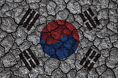 South Korea flag painted on cracked ground