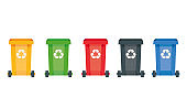 Modern vector illustration of colored rubbish containers for separate sorting of garbage. Bin for recycling different types of waste