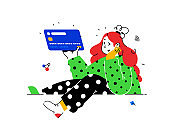 Illustration of a girl with a credit card in abstract style. Bank customer with a debit card. Investment banking instruments. Deposit, debit and credit. Purchases by bank transfer.