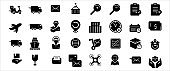 Simple Set of delivery, courier and shipping Related Vector icon graphic design template. Contains such Icons as shipping, mail, post, courier, motorcycle delivery, drone and customer service