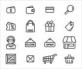 Simple Set of online shop market Related Vector icon graphic design template. Contains such Icons as money, fund, sell, sale, wallet, purse, bag, discount, box, price, tag, customer service and more