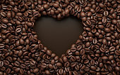 Fresh roasted coffee beans heart frame 3d rendering background. Masses of coffee beans close up. Top view
