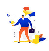 A businessman with a briefcase sends and receives a letter. Business correspondence and contacts with business partners. Chatting. Correspondence advertising mailing.