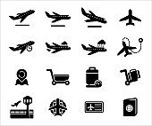 Simple Set of airport airplane travel Related Vector icon graphic design template. Contains such Icons as airplane, maneuver, climbing, takeoff, landing, luggage, weight inspection and watching tower