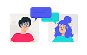 Illustrations of man and woman in ordinary images. Vector. The couple communicates on the Internet or live. Chatting young people. Avatars of a girl and a guy.