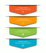 Infographic template with 4 downward colorful paper arrows. Can be used for diagram, chart, web design.