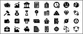 Simple Set of finance and banking business Related Vector icon graphic design template. Contains such Icons as credit card, money, coin, bank, wallet, gold, and safe box