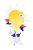 Illustration of businessmen flying in a balloon. Vector. Metaphor. Balloon in the form of an electric bulb. Two people are exploring the expanses of business. Search for new ideas and creative people.