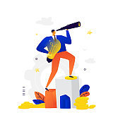 Illustration of a businessman looking through a spyglass. Vector. A man with an idea makes plans for the future. Metaphor. Creative search for fresh ideas. New Horizons. Flat business illustration.