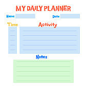 Kids schedule design template. Preschool  Daily Planner