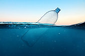 Empty plastic bottle floats in water. Ocean pollution concept. Global warming. View under water