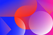 Abstract colored background from triangles, circles and lines. Geometric figures. Horizontal vibrant gradient background for projects. Modern style. Illustration for website and poster.