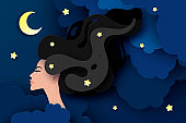 Vector portrait of sleeping young beautiful woman with long wavy hair. Fluffy paper clouds, moon and stars. Sweet dreams concept. Modern digital paper layered art. Origami style.