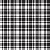 Black and white Plaid Tartan Checkered Seamless Pattern