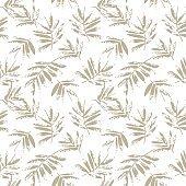 Brown Beige Tropical Leaf seamless Pattern background