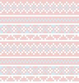 Pink Christmas Fair Isle Seamless Pattern Background