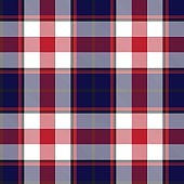 Red and Navy Plaid Tartan Checkered Seamless Pattern