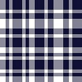 Navy Plaid Tartan Checkered Seamless Pattern
