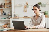 Elegant Businesswoman Working at Home