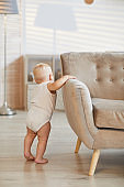 Toddler Standing At Sofa