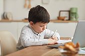 Cute Little Boy Writing in Notebook at Home