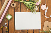 Blank Paper Background on Craft Table