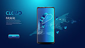 Abstract cloud technology with smartphone and interface concept Connection by collecting data in the cloud With large data storage systems around the world.