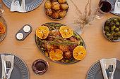 Roasted Chicken at Thanksgiving Dinner