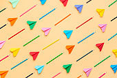 Back to school concept. Colorful pencils and paper airplanes pattern