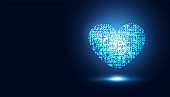 abstract medical health care Blue heart virtual sci fi artificial intelligence innovative background.