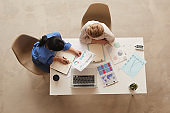 Two Businesswomen at Desk Above View
