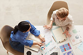 Businesswomen at Desk Above View