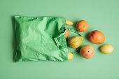 Bag of tropical fruits. Food shopping. Eco-friendly bag