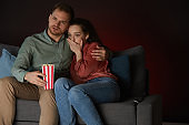Couple Watching Horror Movie Together