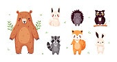 Forest animals set isolated. Funny cartoon characters for kids. Bear, fox, owl, hedgehog, raccoon, hare. Vector illustration. Flat eps10.