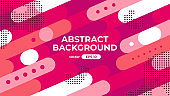 Abstract geometric background. Dynamic shapes composition. Simple modern design. Futuristic banner, poster, flyer, cover template. Flat style vector eps10 illustration. Red and pink color.